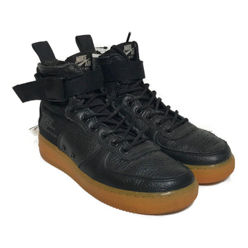 NIKE/SF AIR FORCE 1/Hi-Sneakers/US8/BLK/Leather/Plain