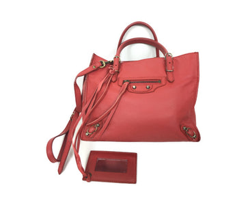 BALENCIAGA/-/Tote Bag/RED/Leather/Plain