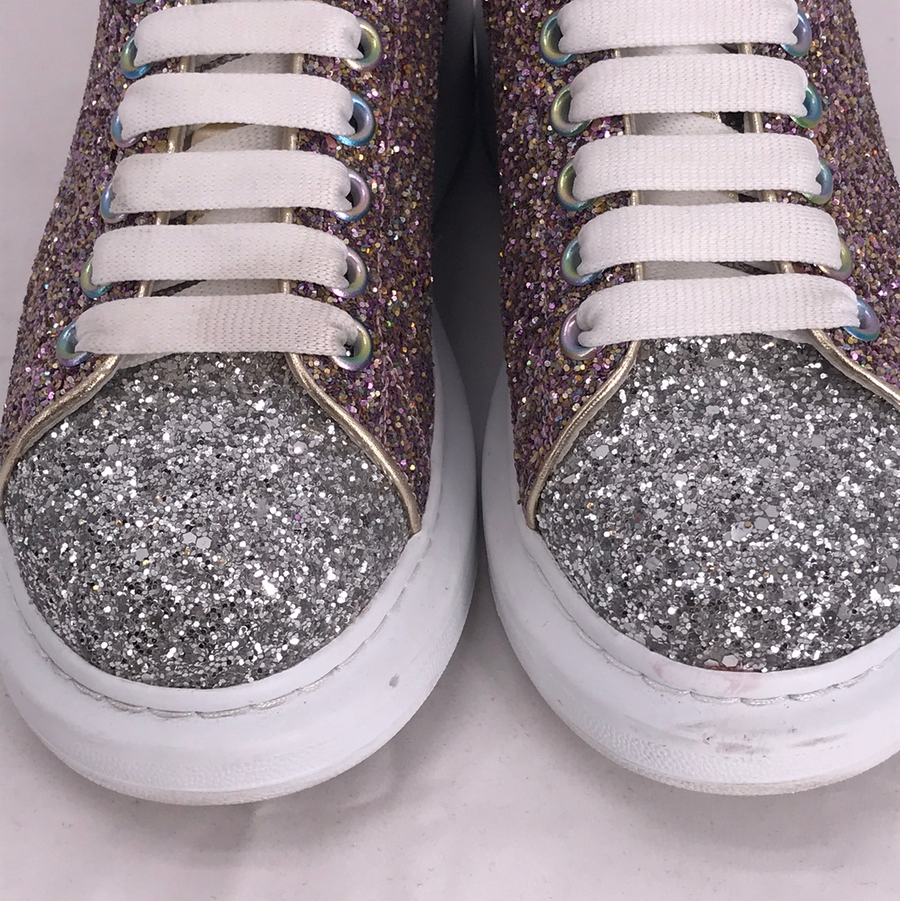 Alexander McQueen//Low-Sneakers/US7/MLT/Leather/Glitter