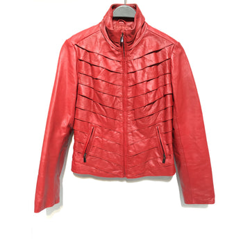 Neiman Marcus/M/Leather Jkt/RED/Leather/Plain