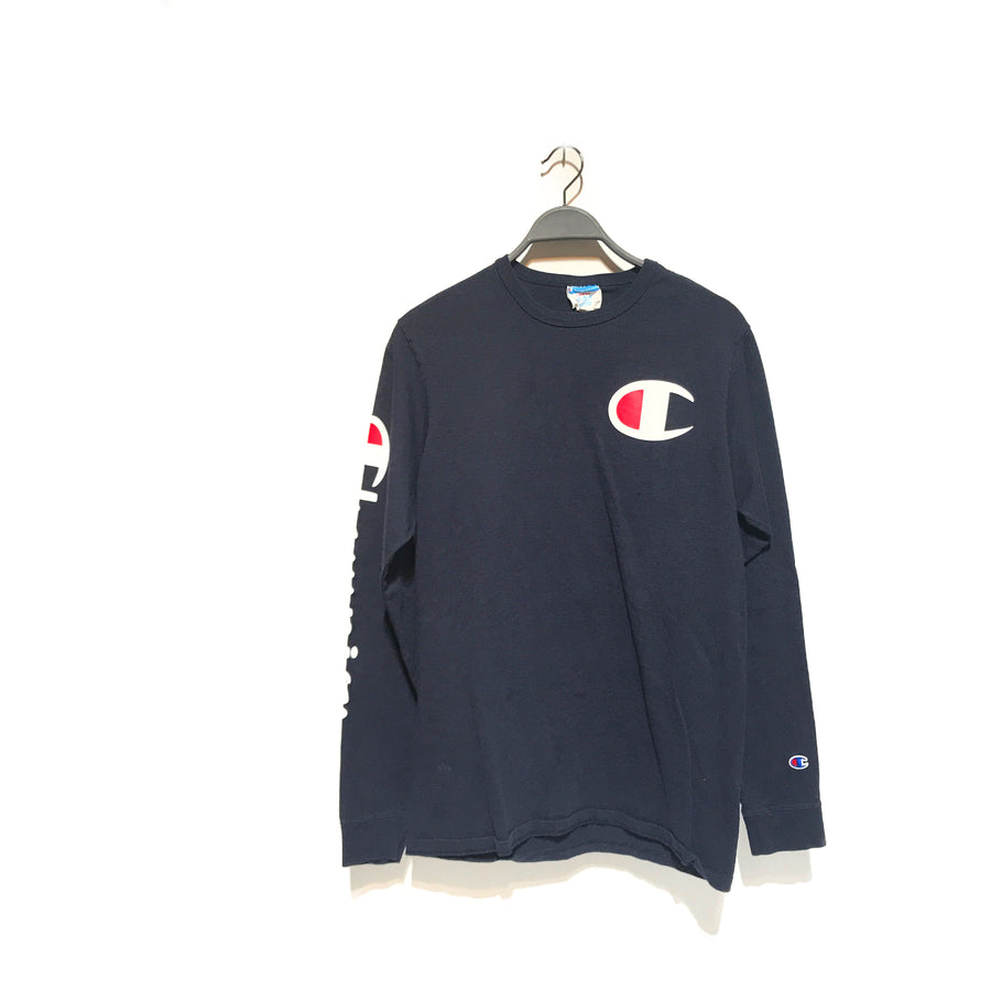 champion//LS T-Shirt/L/NVY/Cotton/Plain
