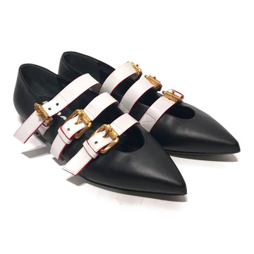 MOSCHINO//Flat Shoes/US7/BLK/Leather/Plain