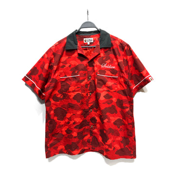 BAPE/SOLDIER SS20 BUTTON UP/SS Shirt/L/RED/Cotton/Camouflage
