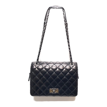 CHANEL/GRAINED CALFSKIN /Cross Body Bag//BLK/Leather/Plain
