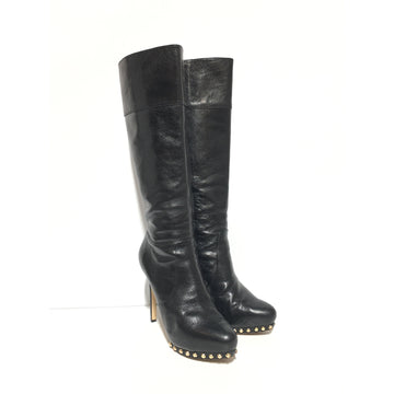 MICHAEL KORS/7.5/Long Boots/BLK/Leather/Plain/Knee-high