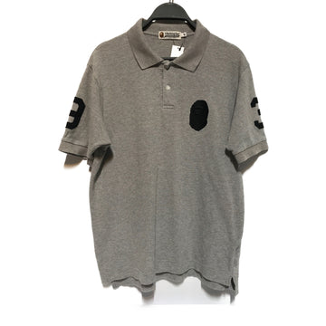 BAPE//Polo Shirt/M/GRY/Cotton/Plain