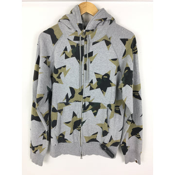 A BATHING APE/M/Zip Up Hoodie/GRY/Cotton/All Over Print