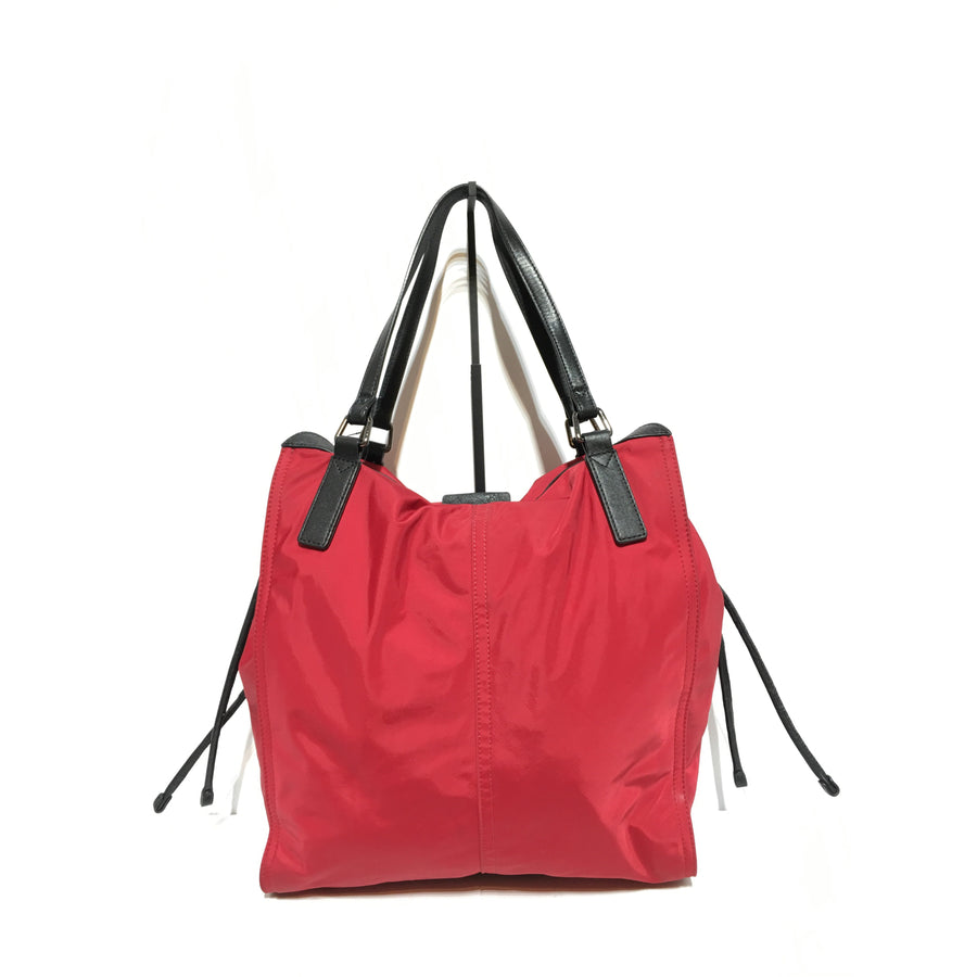 BURBERRY/LEATHER/Tote Bag/RED/Nylon/Plain