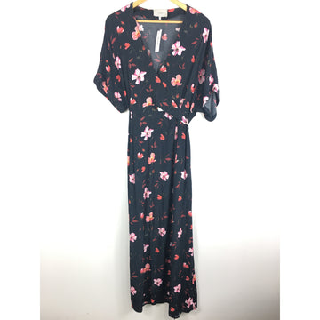 //S/SS Dress/BLK/Polyester/Floral Pattern