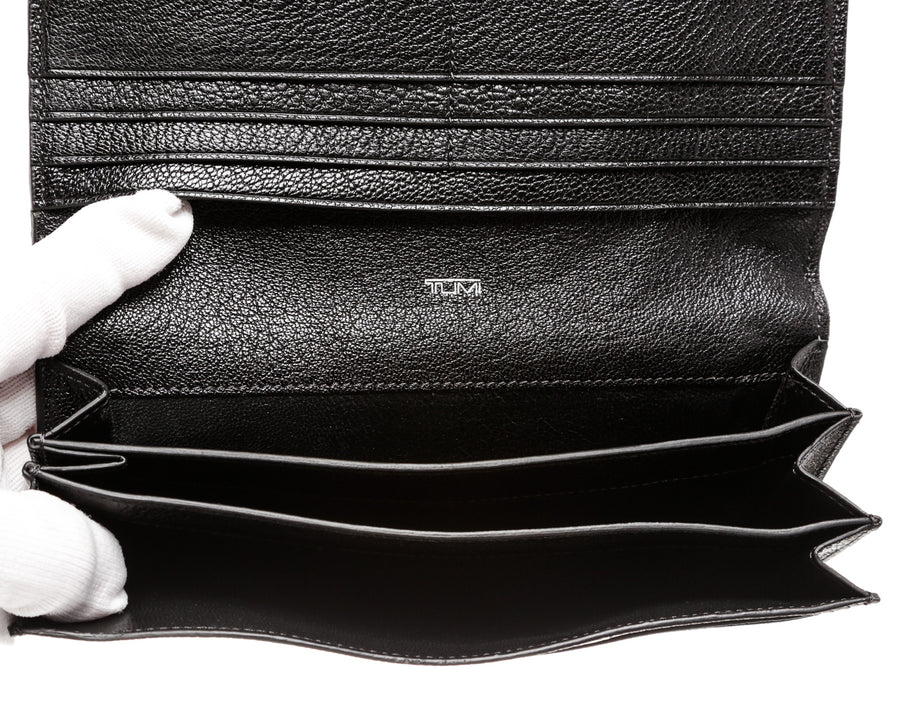 TUMI/Long Wallet/BLK/Leather