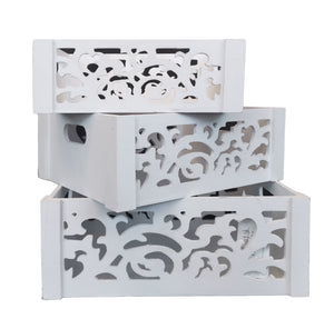 (11192)-Wooden Box Set of 3 with Carved Flower
