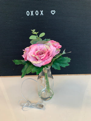 Artificial Flower 2401A w/ LED Vase Old Pink - USB