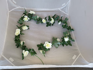 Large Rose Flower Vine Wall Hanging - Cream