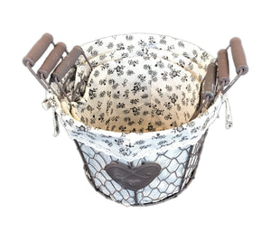 Iron Craft Basket Set of 3 with Heart - Round (690 00006092001 690 00006092002 690 00006092003)