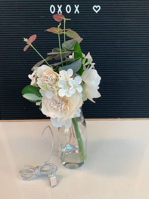 Artificial Flower 4411 w/ LED Vase Cream - USB