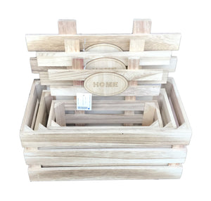 Natural Style Wooden Boxes Set of 3 - Natural