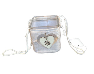 Square Glass Candle Holder with Heart - Small                (69000011049001)