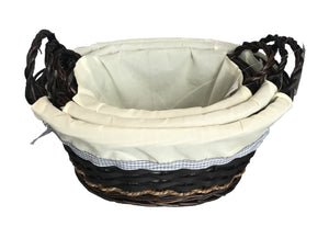 Round Lined Basket with Handle set of 3 - Brown