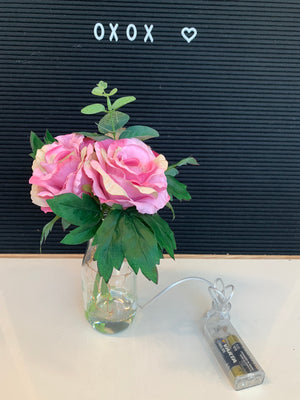 Artificial Flower 2401A w/ LED Vase Old Pink - Battery