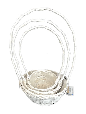 Wicker Basket with Handle Set of 3 - White