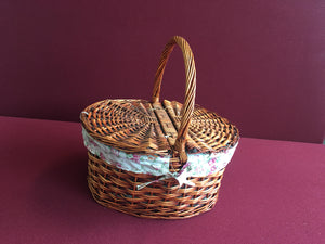 Oval Shape Picnic Basket with Lid - Brown (9300000610901)