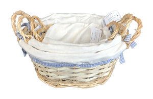 Round Lined Basket with Handle set of 3 - Natural