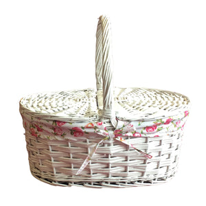 Oval Shape Picnic Basket with Lid - White (9300000610901)