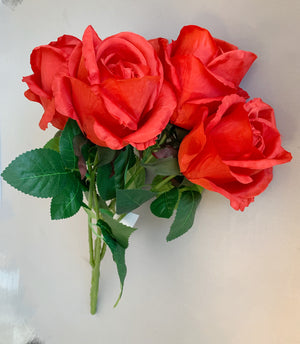 Artificial Flower Rose 5H - Red