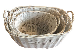 Thick Willow Basket 3 in 1 Set - White  (9300000612401 9300000612402 9300000612403)