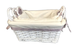 Square Lined Basket with Handle set of 3 - White