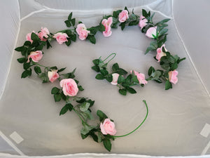 Large Rose Flower Vine Wall Hanging -Pink