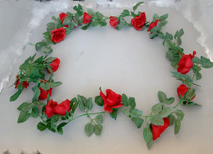 Rose Flower Garland 16H - Red