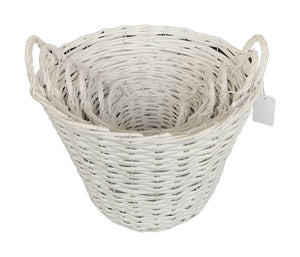 Hamper Basket With Handles Set of 6 - White