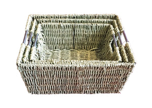 Square Sea Grass Basket 3 in 1 Set     (9300001045101 9300001045102  9300001045103)
