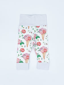 RTS Ice Cream Floral Leggings - NB, 0-3