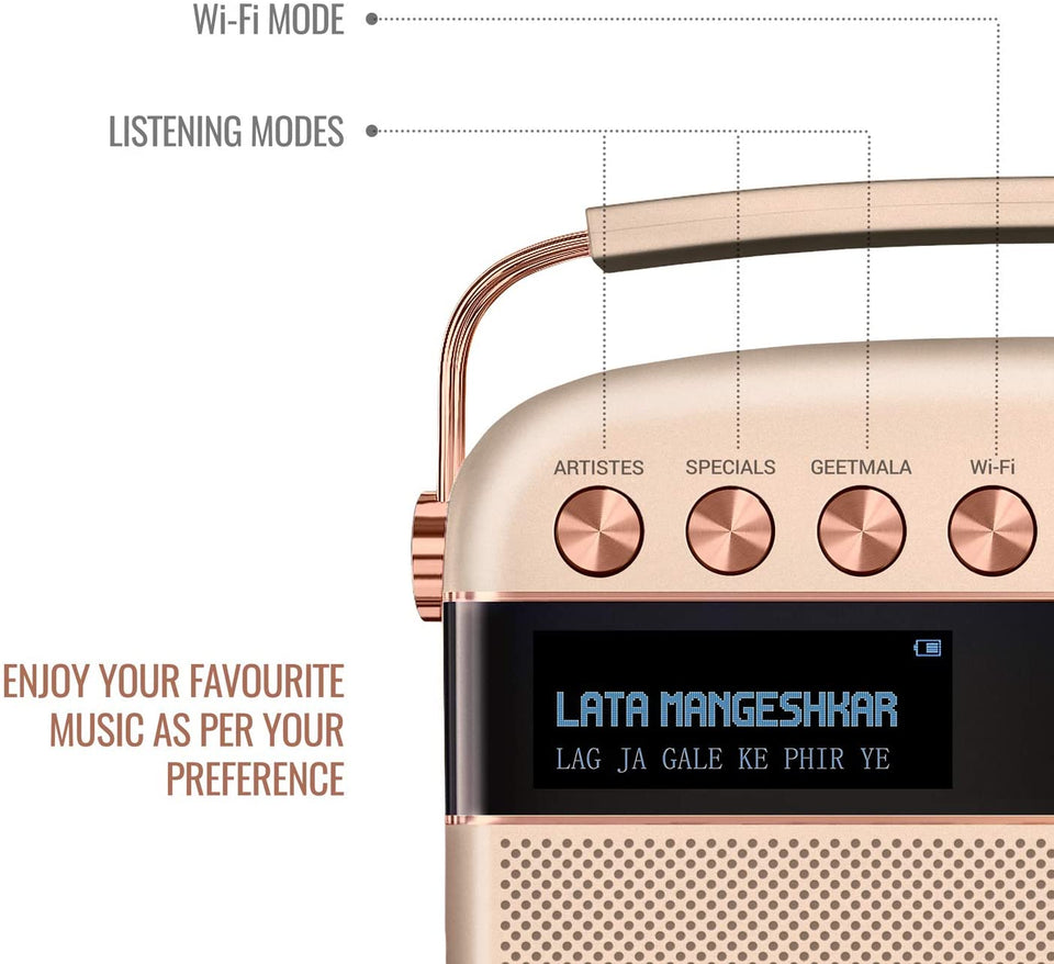 Saregama Carvaan Gold 2.0 with Wifi & App - Sound by Harman/Kardon (Rose Gold) - Saarthi Media