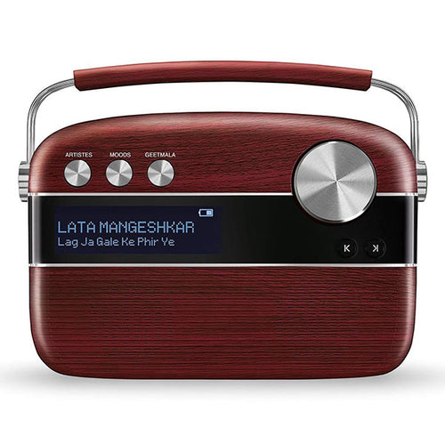 Saregama Carvaan - Portable Digital Music Player - Hindi (Cherrywood Red) - Saarthi Media