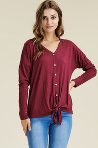 Give Me the Smiles Tunic - Burgundy (Curvy)