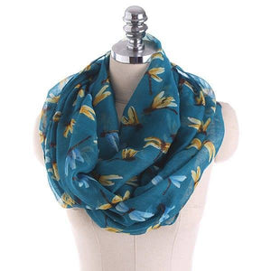 Infinity Scarf - Dragon Flies on Teal