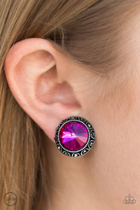 Money Makes The World Go Round - Pink Clip-On Earrings