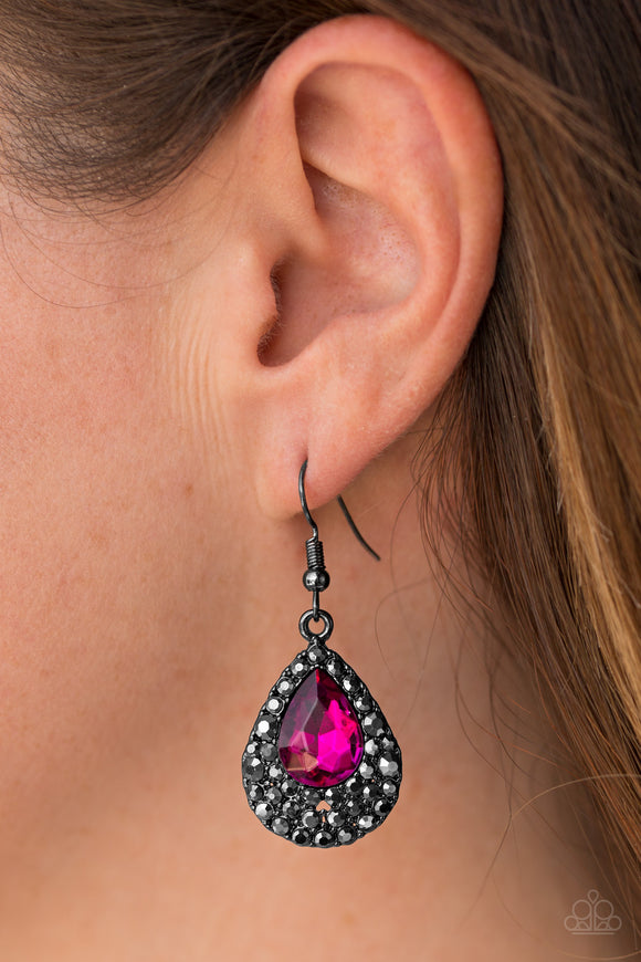 Reel In The Glitter - Pink Earrings