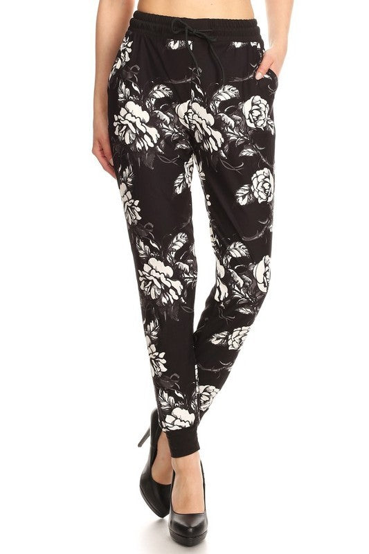 Soft Joggers - Black & White Floral