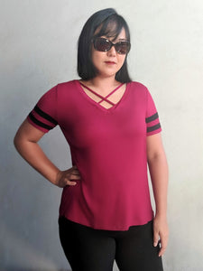 Jersey Stripes Top - Burgundy