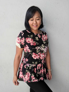 Floral Peplum Top With Trimmed Sleeves - Black
