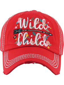 Floral Wild Child Cap - Red