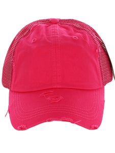 Distressed Trucker Ponytail Hats For Women (6 COLORS)