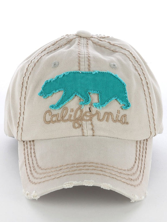 California Grizzly Bear Cap - Ivory