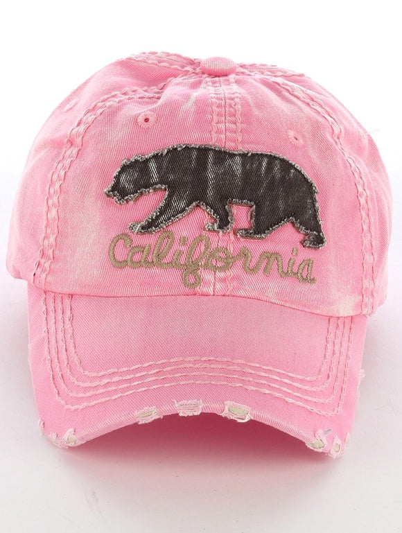 California Grizzly Bear Cap - Pink