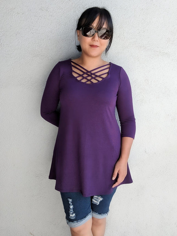Cross My Heart 3/4 Sleeves Tunic - Dark Purple