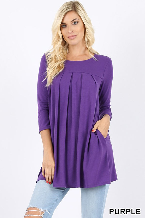 Pleated Tunic With Pockets in Dark Purple
